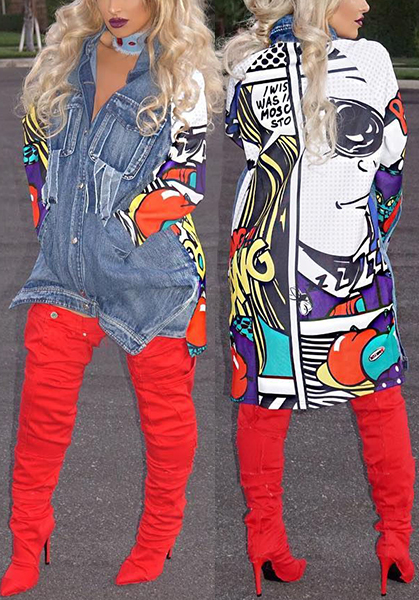 Lovely Trendy Turndown Collar Long Sleeves Printed