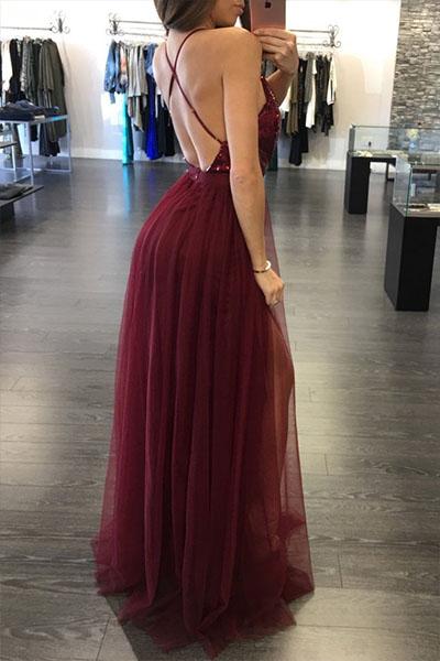 Sexy Deep V Neck Sleeveless Wine Red Gauze Floor L