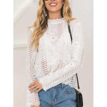 Stylish Round Neck Hollow-out White Bud Silk Shirt
