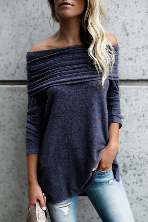 Lovely Leisure Dew Shoulder Purple Cotton Shirts