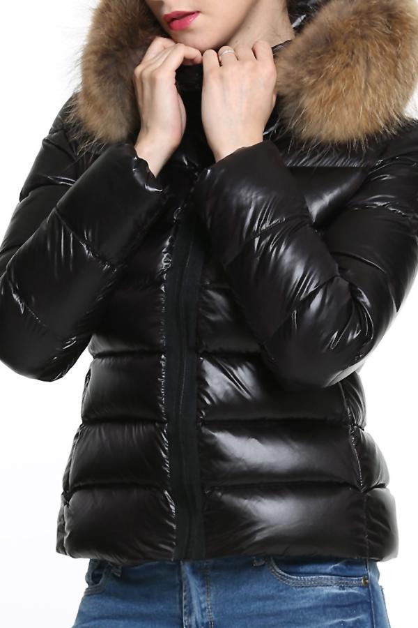 Stylish Hooded Collar Fur Design Black Cotton Park