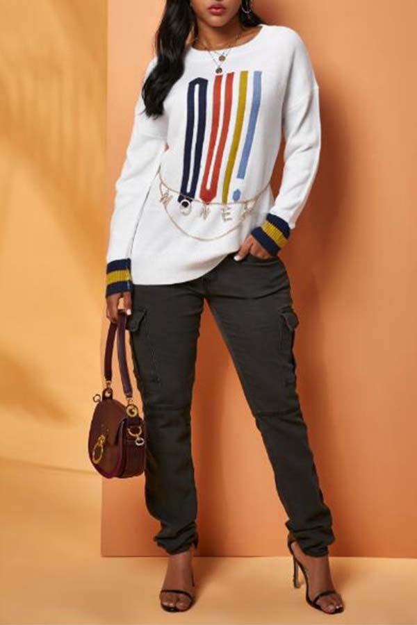 Lovely Casual Print White Sweater