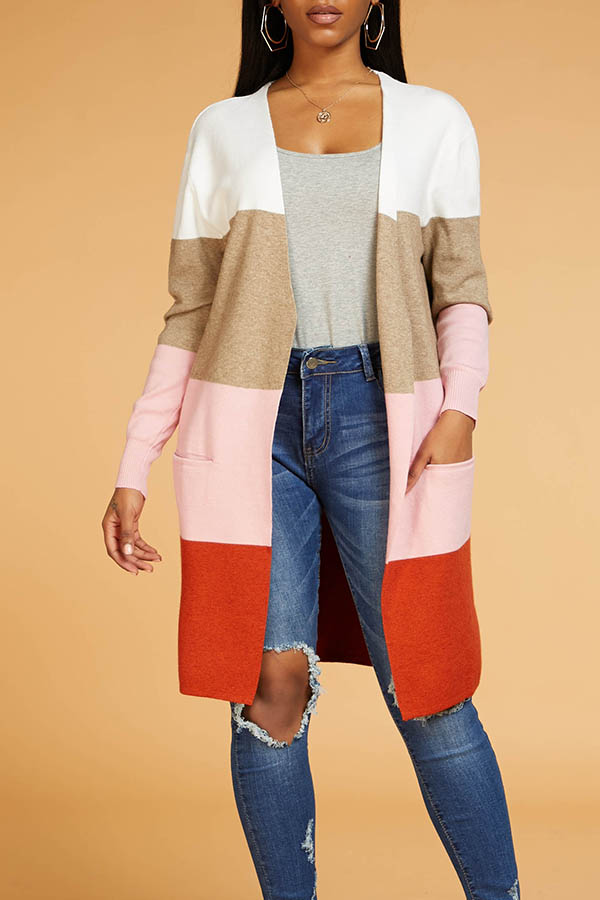 Lovely Chic Color-lump Patchwork Multicolor Cardig