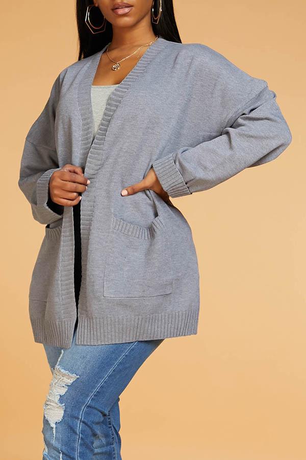 Lovely Casual Basic Grey Cardigan