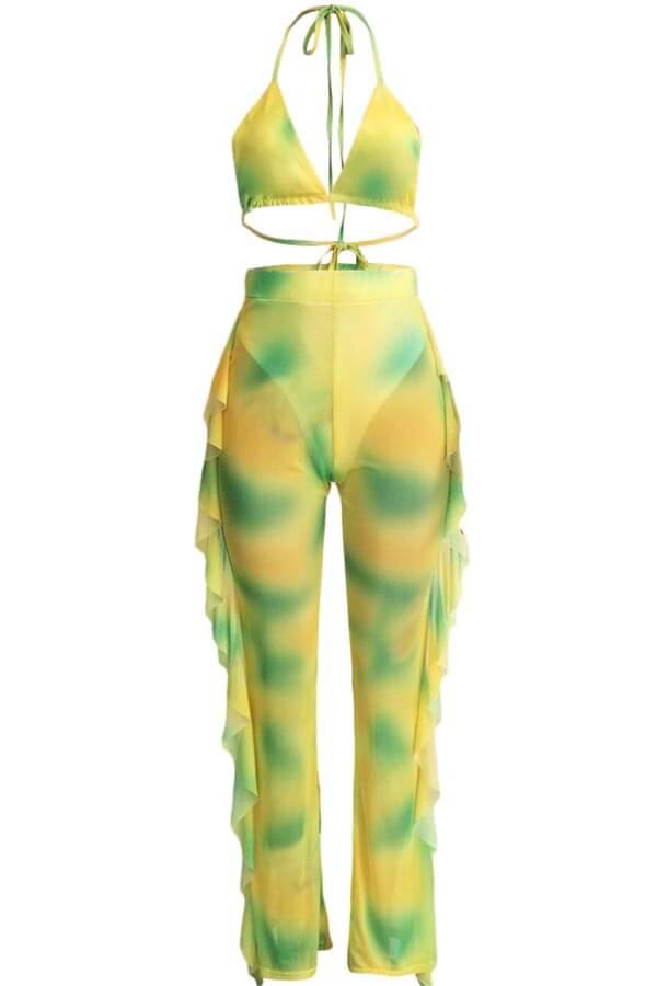 Lovely Print Ruffle Design Yellow Two-piece Swimsu