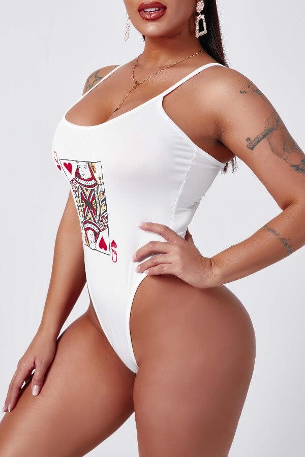 Lovely Trendy Print White Bodysuit