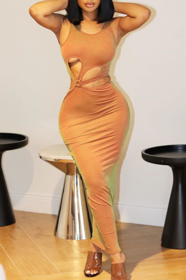 lovely Trendy Hollow-out Orange Ankle Length Dress