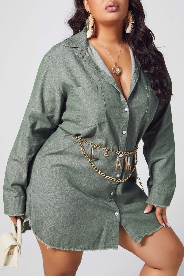 lovely Casual Buttons Design Army GreenPlus Size