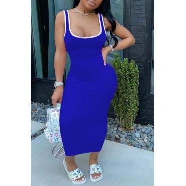 Lovely Sportswear U Neck Patchwork Blue Ankle Leng