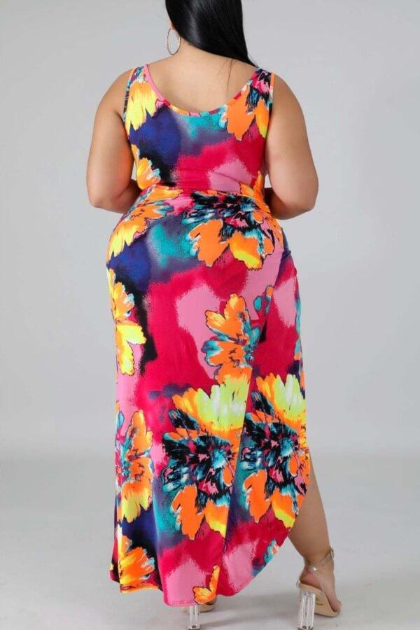 Lovely Tie-dye Multicolor Plus Size One-piece Swim