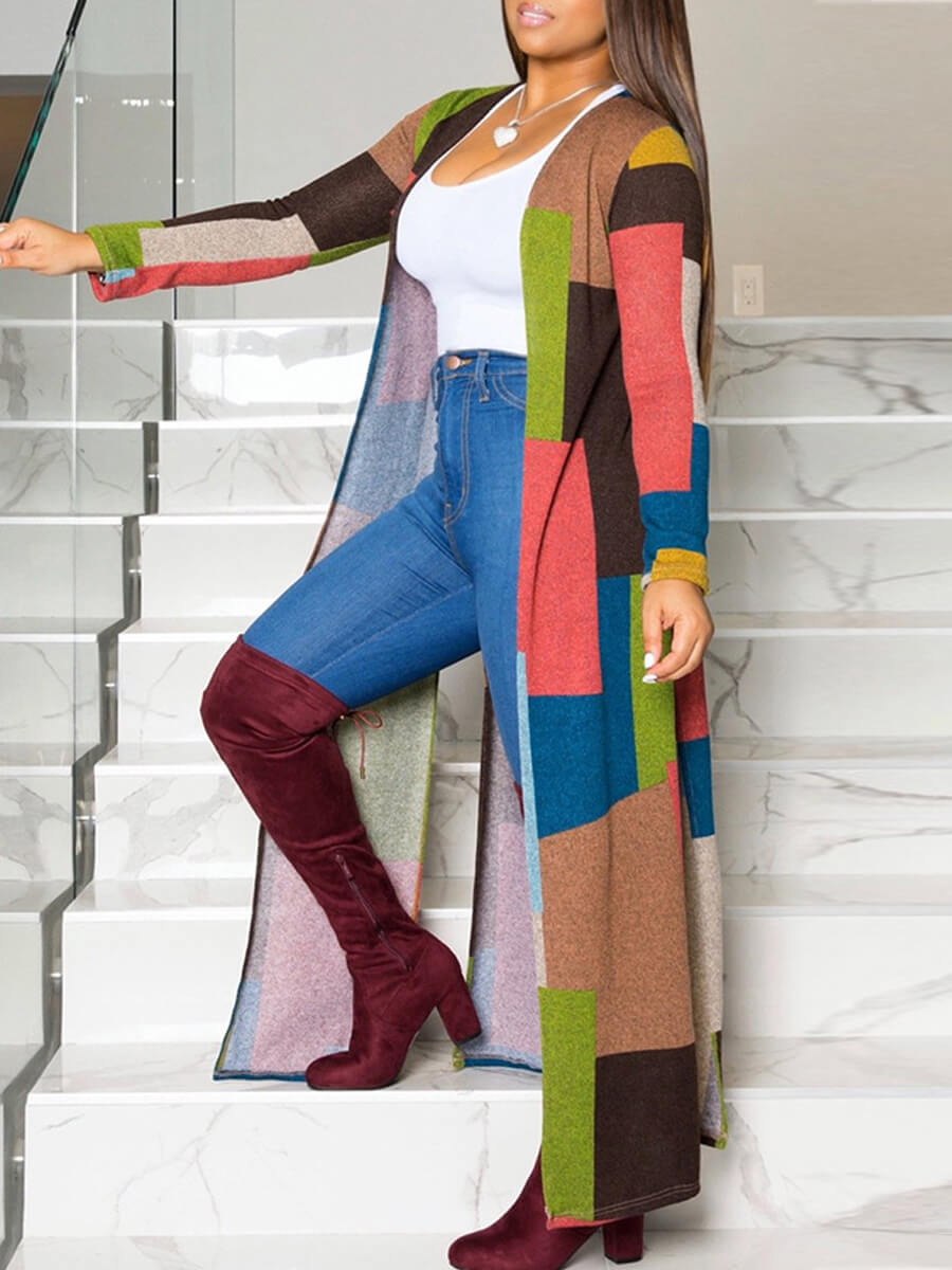 LW Casual Color-lump Patchwork Multicolor Trench C