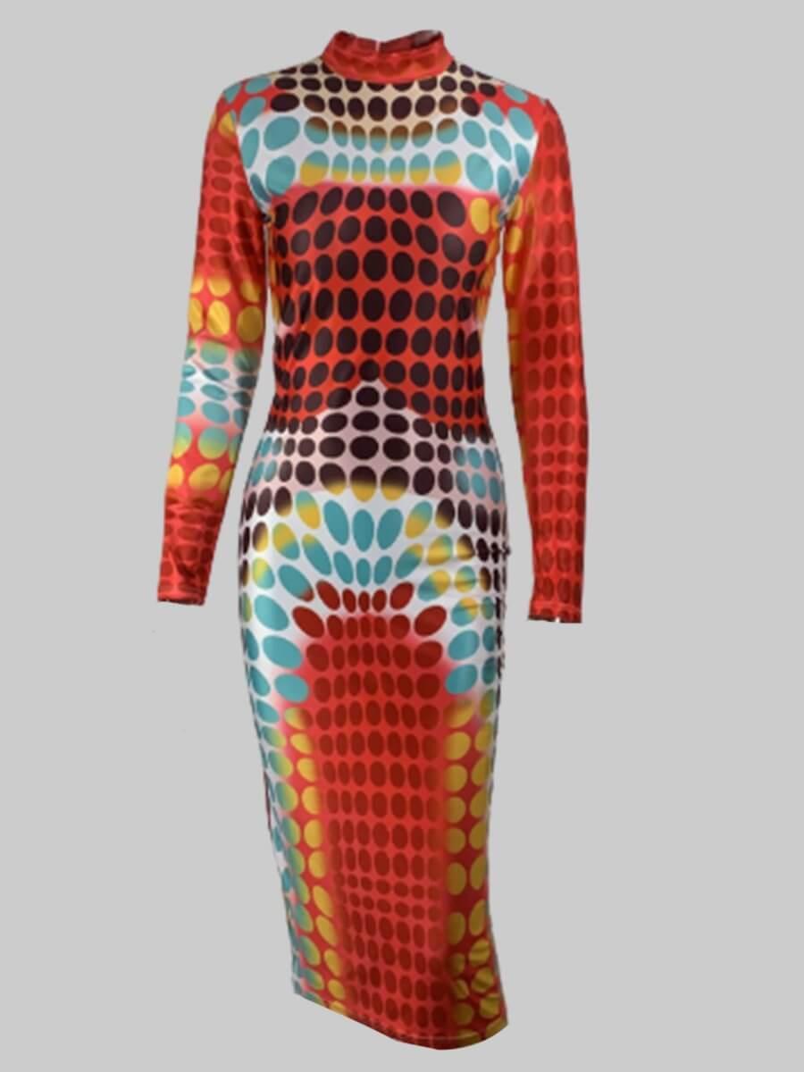 Lovely Plus Size Trendy Print Multicolor Knee Leng