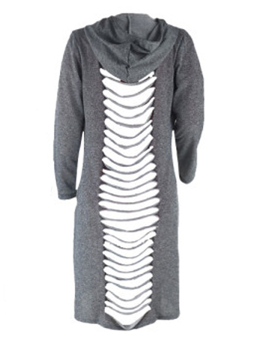 Lovely Casual Hooded Collar Hollow-out Grey Plus S