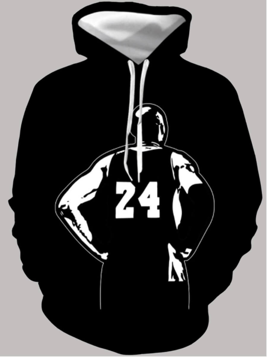 Lovely Men Casual Hooded Collar Print Black Hoodie