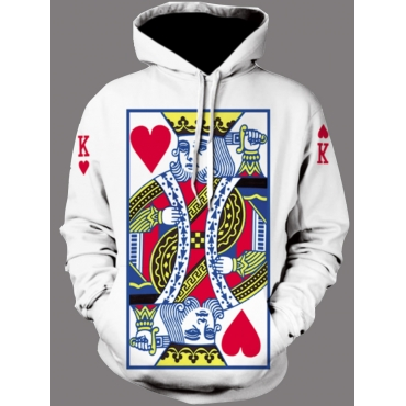 Lovely Men Leisure Hooded Collar Print White Men H