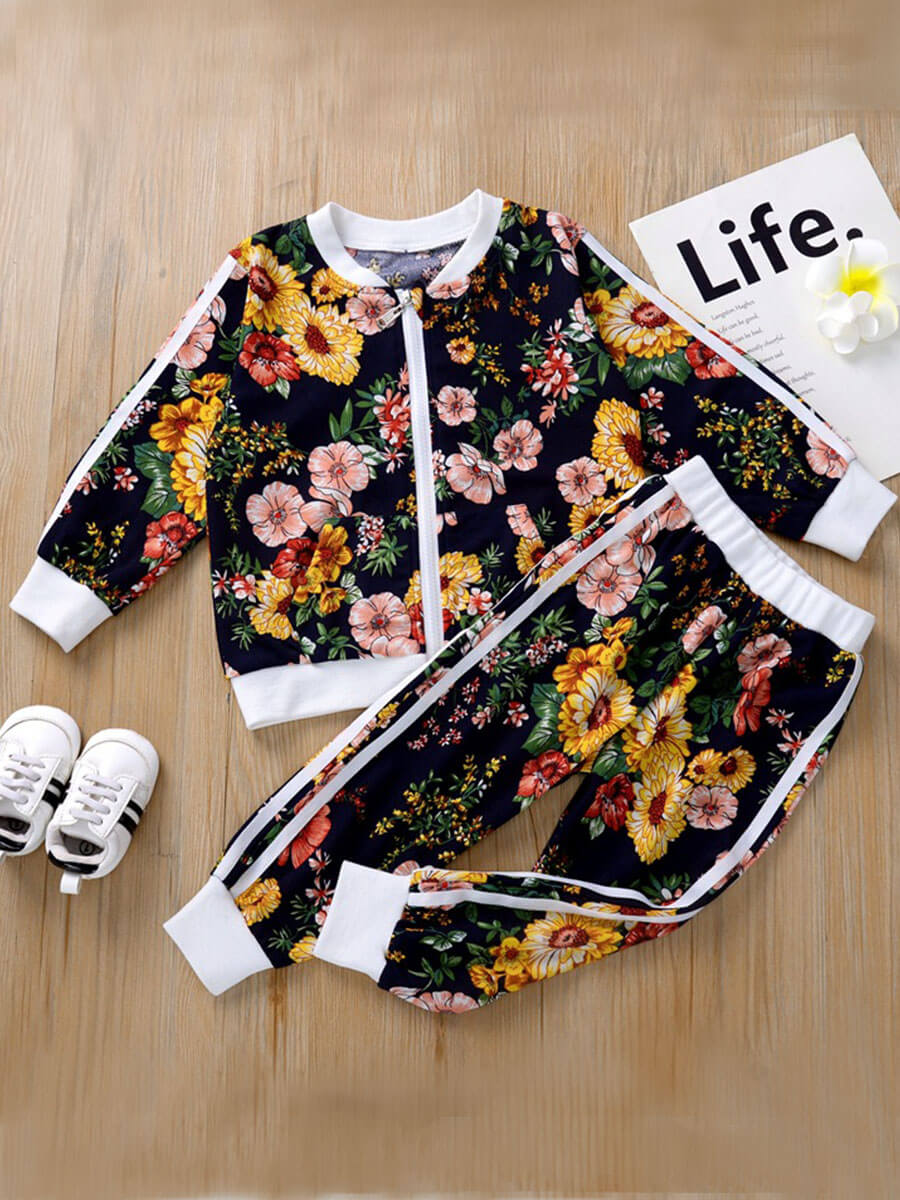 Lovely Girl Casual O Neck Floral Print Blue Two-pi