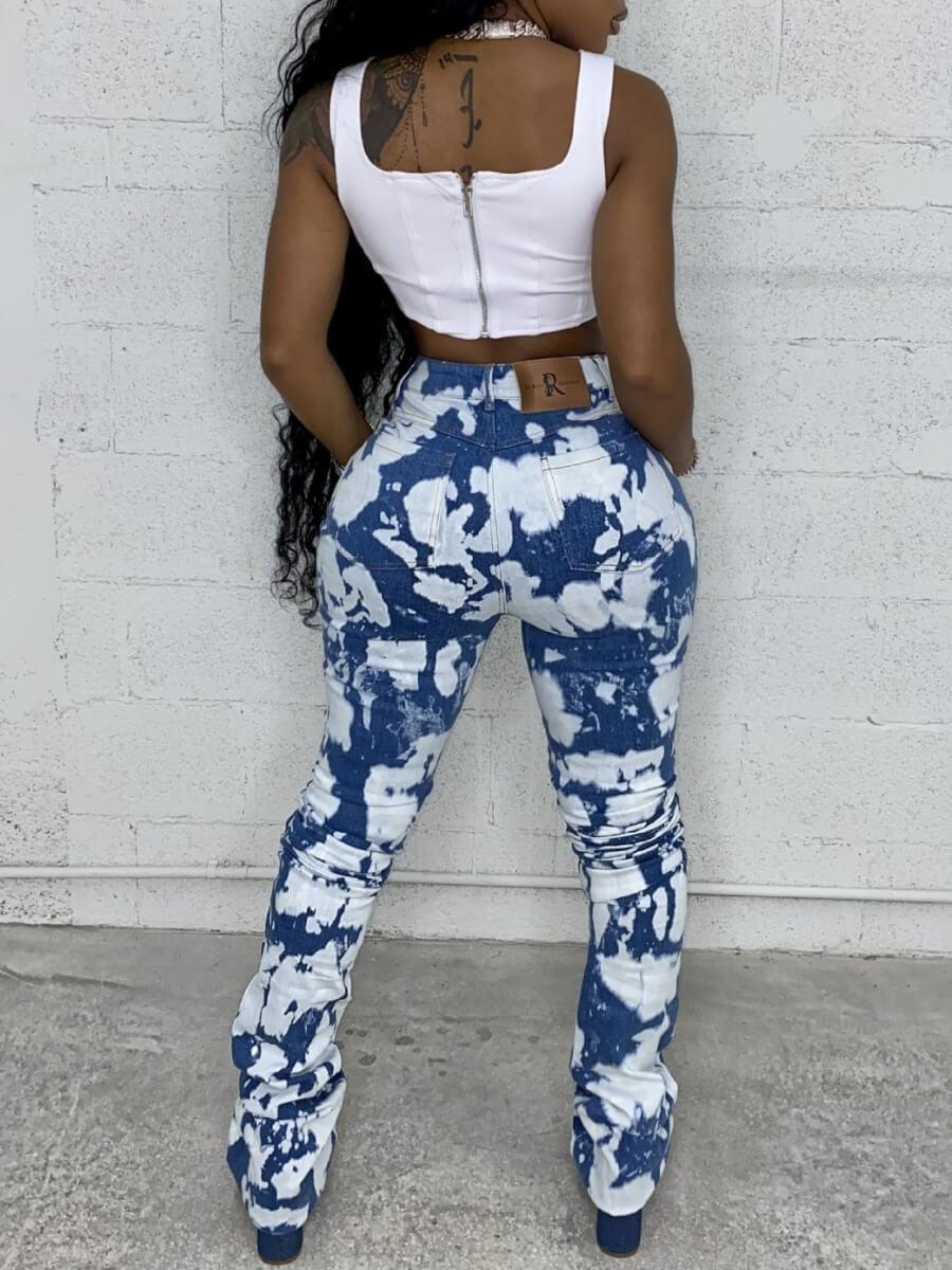 Lovely Street Tie-dye Blue Jeans