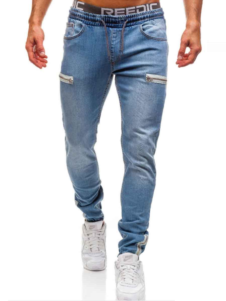 Lovely Men Stylish Fold Design Blue Jeans