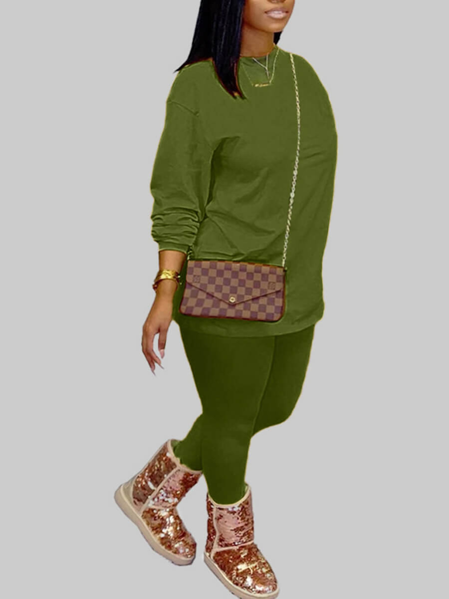 Lovely Plus Size Casual O Neck Basic Skinny Green