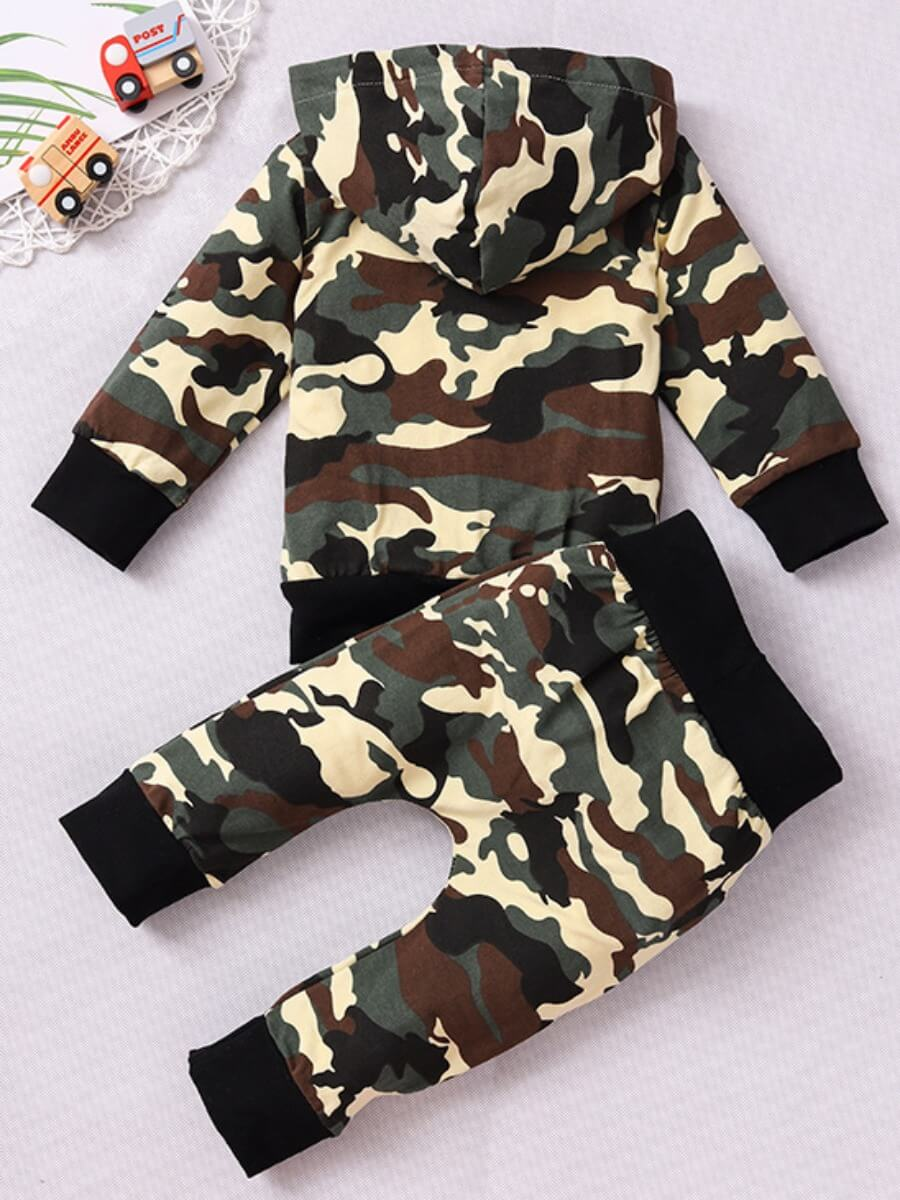 Lovely Casual Hooded Collar Camo Print Boy Two-pie