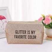 Lovely Casual Letter Gold Makeup Bag