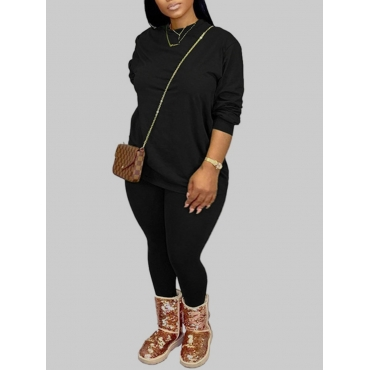 Lovely Casual O Neck Basic Black Plus Size Two-pie