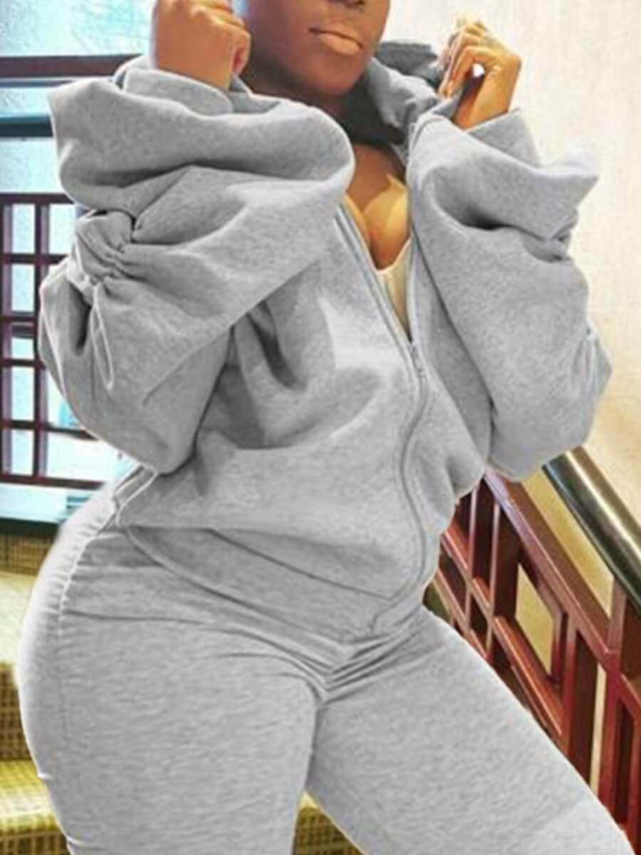 Lovely Casual Hooded Collar Fold Design Grey Plus