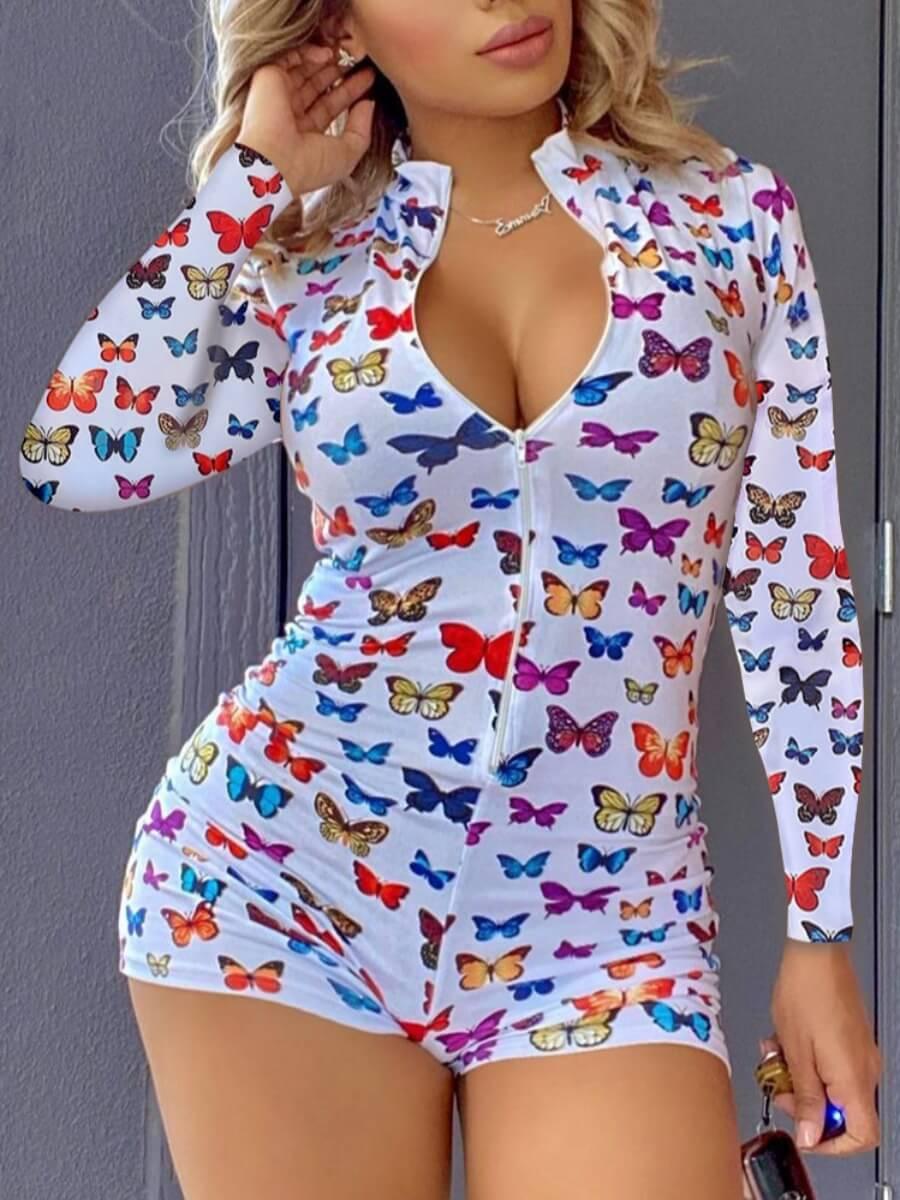 Lovely Leisure Butterfly Print Zipper Design White