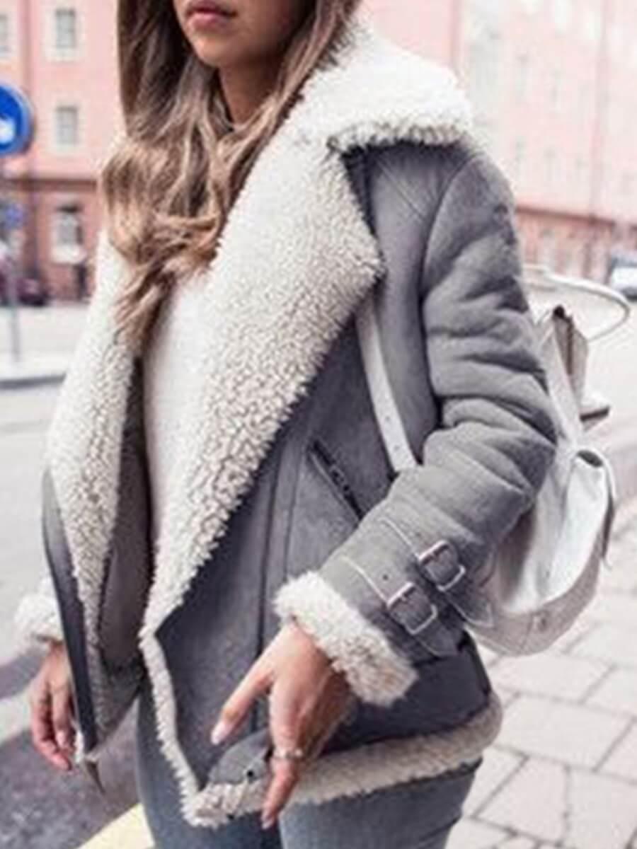 Lovely Street Turndown Collar Patchwork Grey Plus