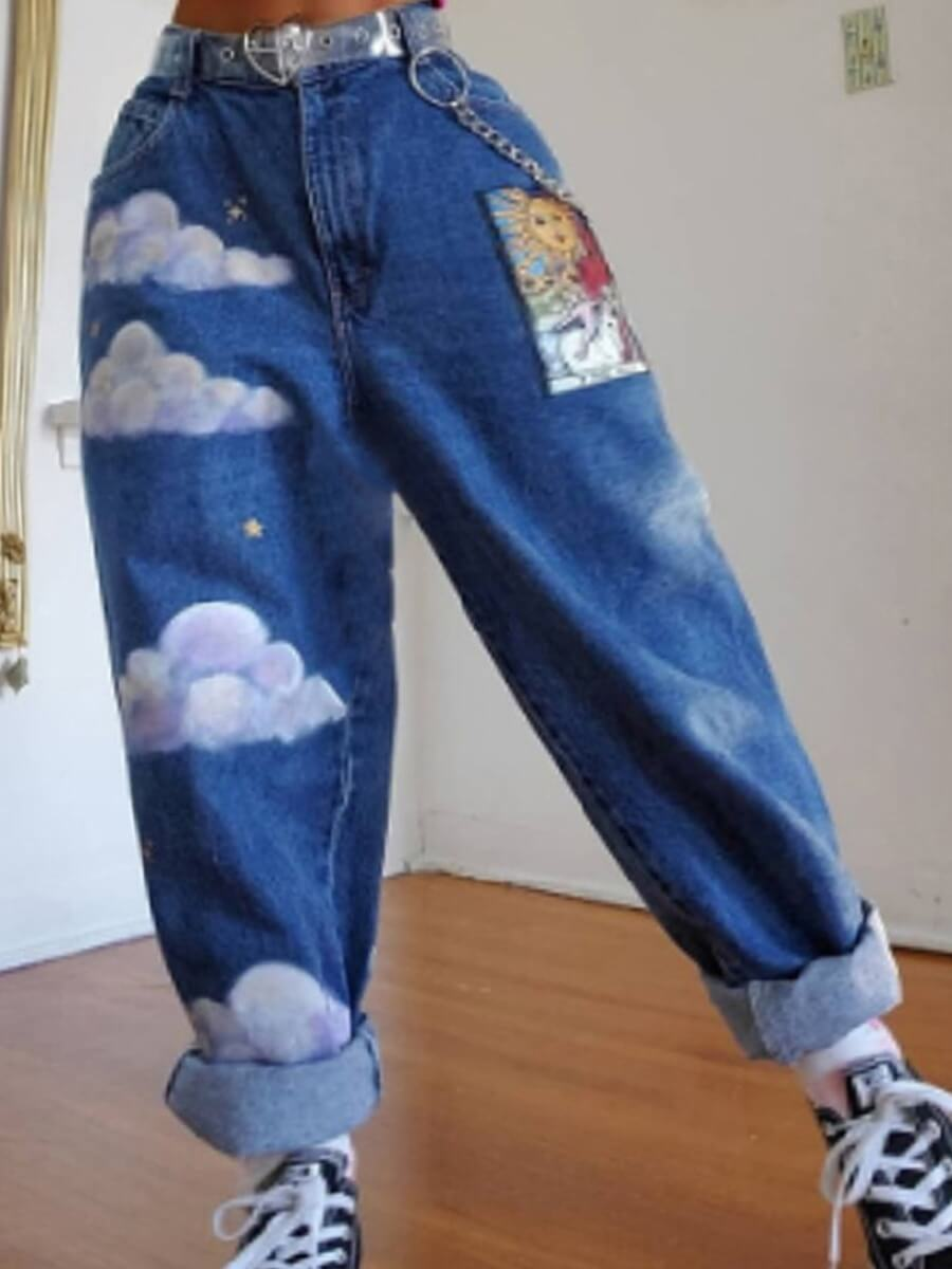 Lovely Chic Print Loose Blue Jeans