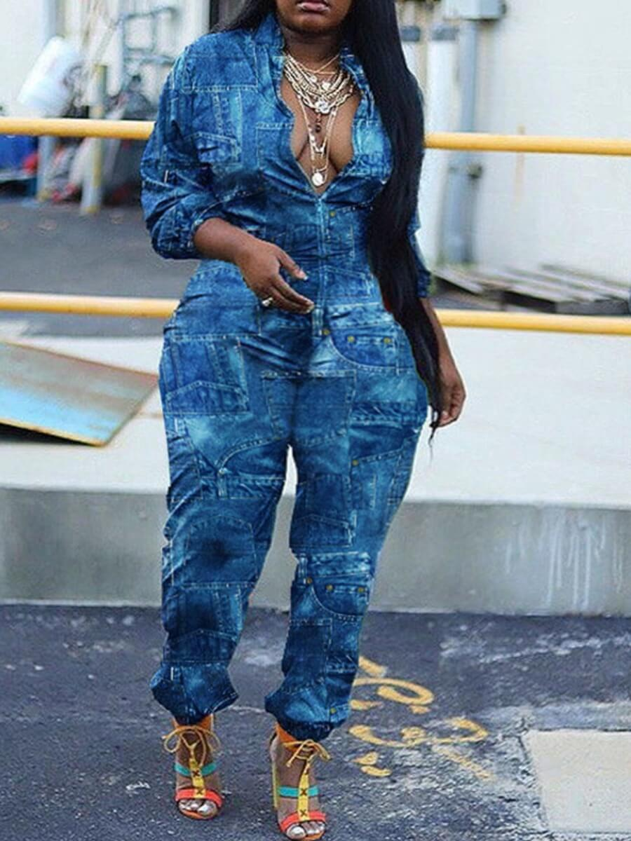 Lovely Stylish Print Loose Blue Plus Size One-piec