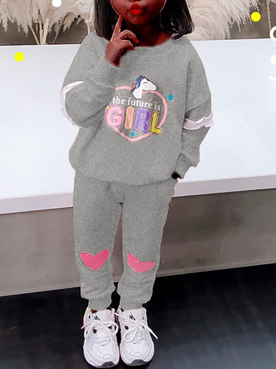 Lovely Sportswear O Neck Letter Print Grey Girl Tw