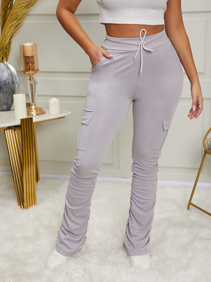 Lovely Street Pocket Patched Grey Pants