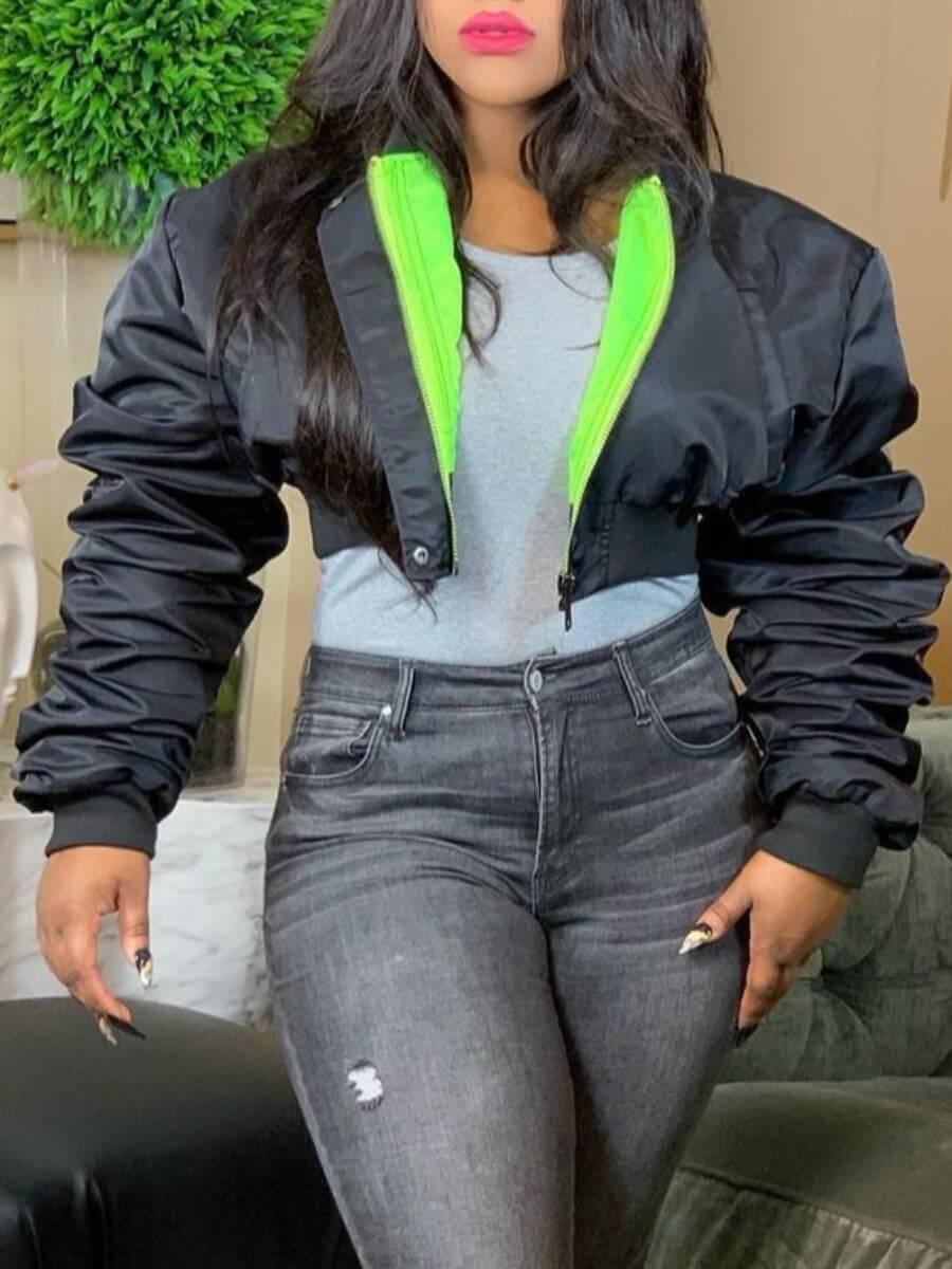 Lovely Stylish Zipper Design Black Short Parka
