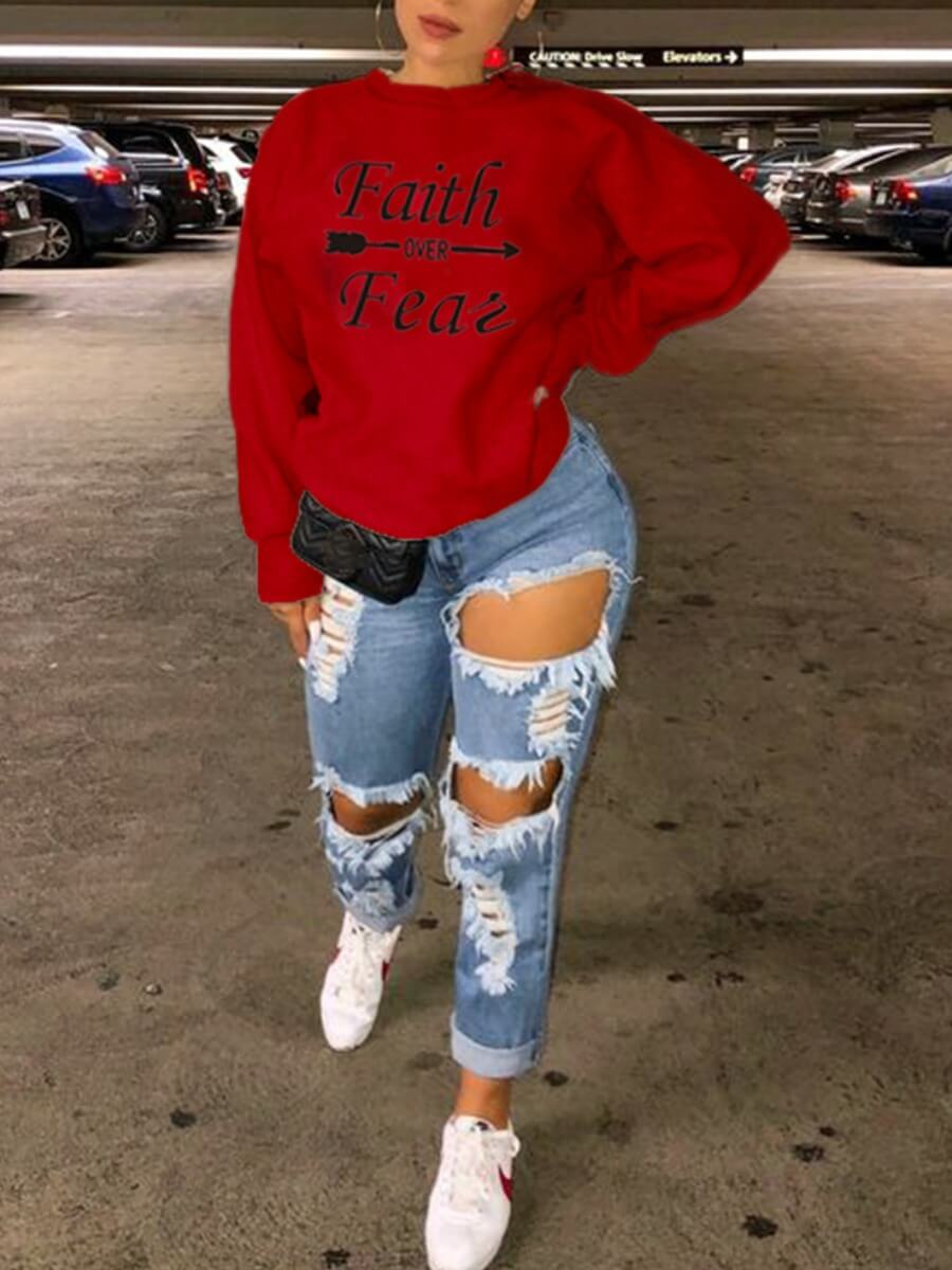 Lovely Casual O Neck Letter Print Red Hoodie