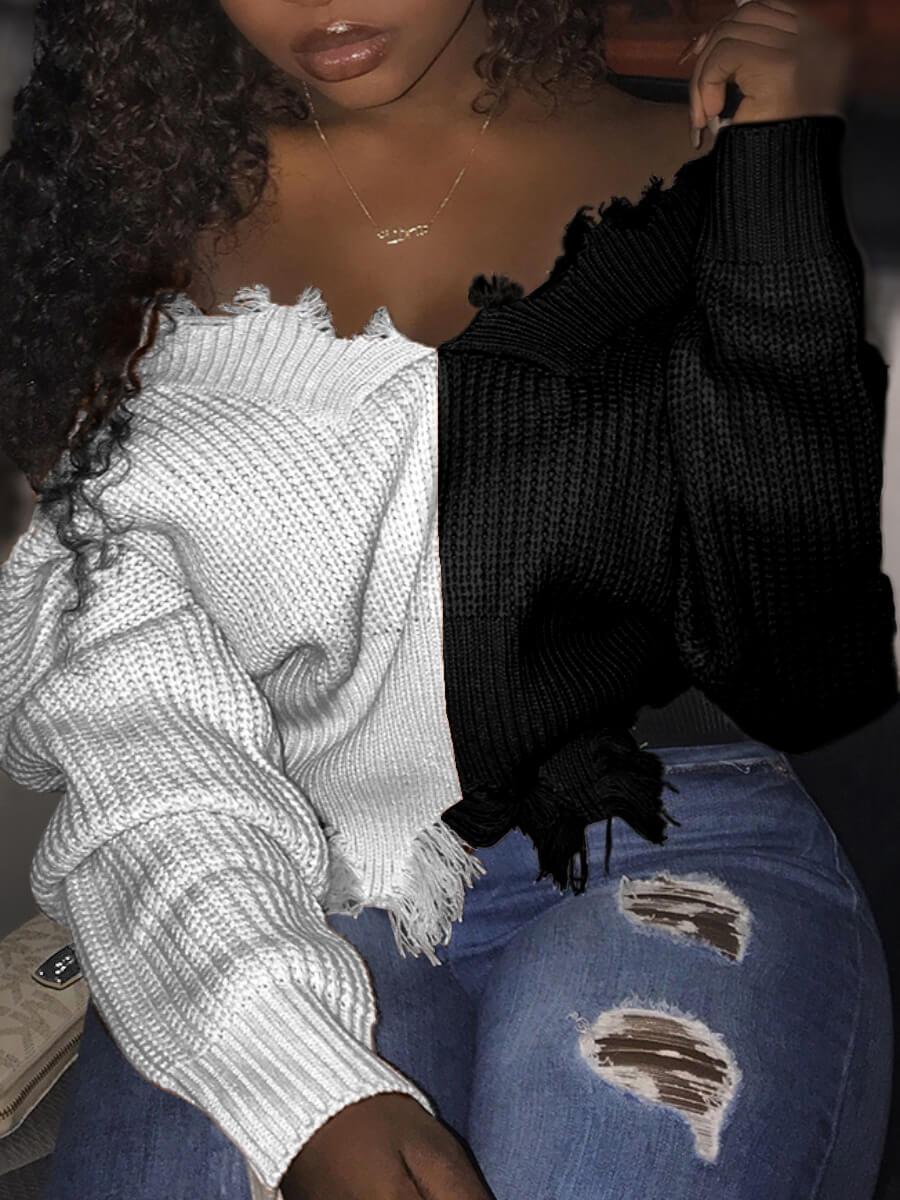 Lovely Street V Neck Patchwork White Sweater