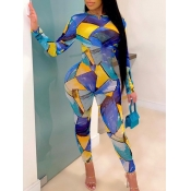 Lovely Stylish O Neck Grid Print Skinny Multicolor
