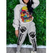 Lovely Street Hooded Collar Print Grey Two Piece P