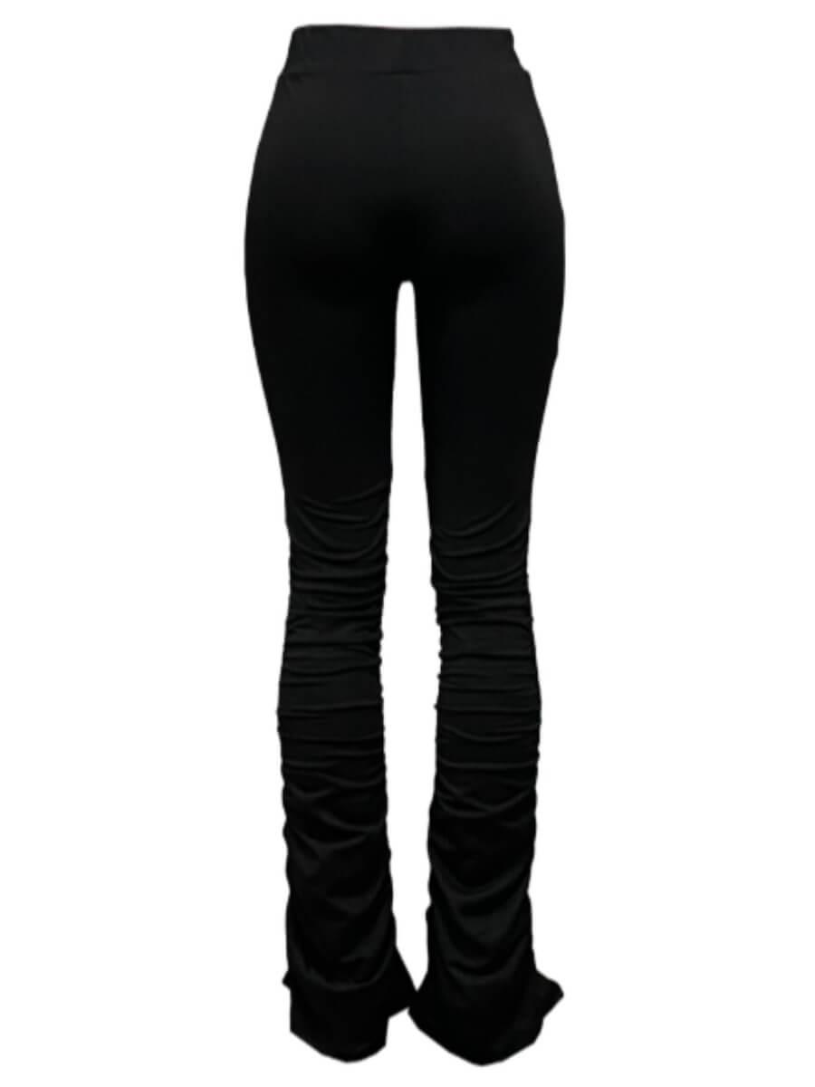 Lovely Street Drawstring Fold Design Black Pants