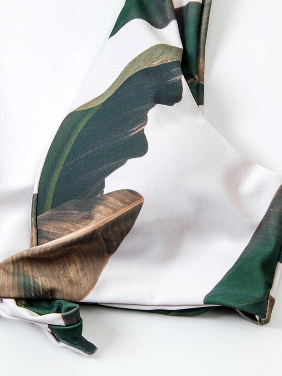 Lovely Trendy Banana Leaf Print Knot Design Green
