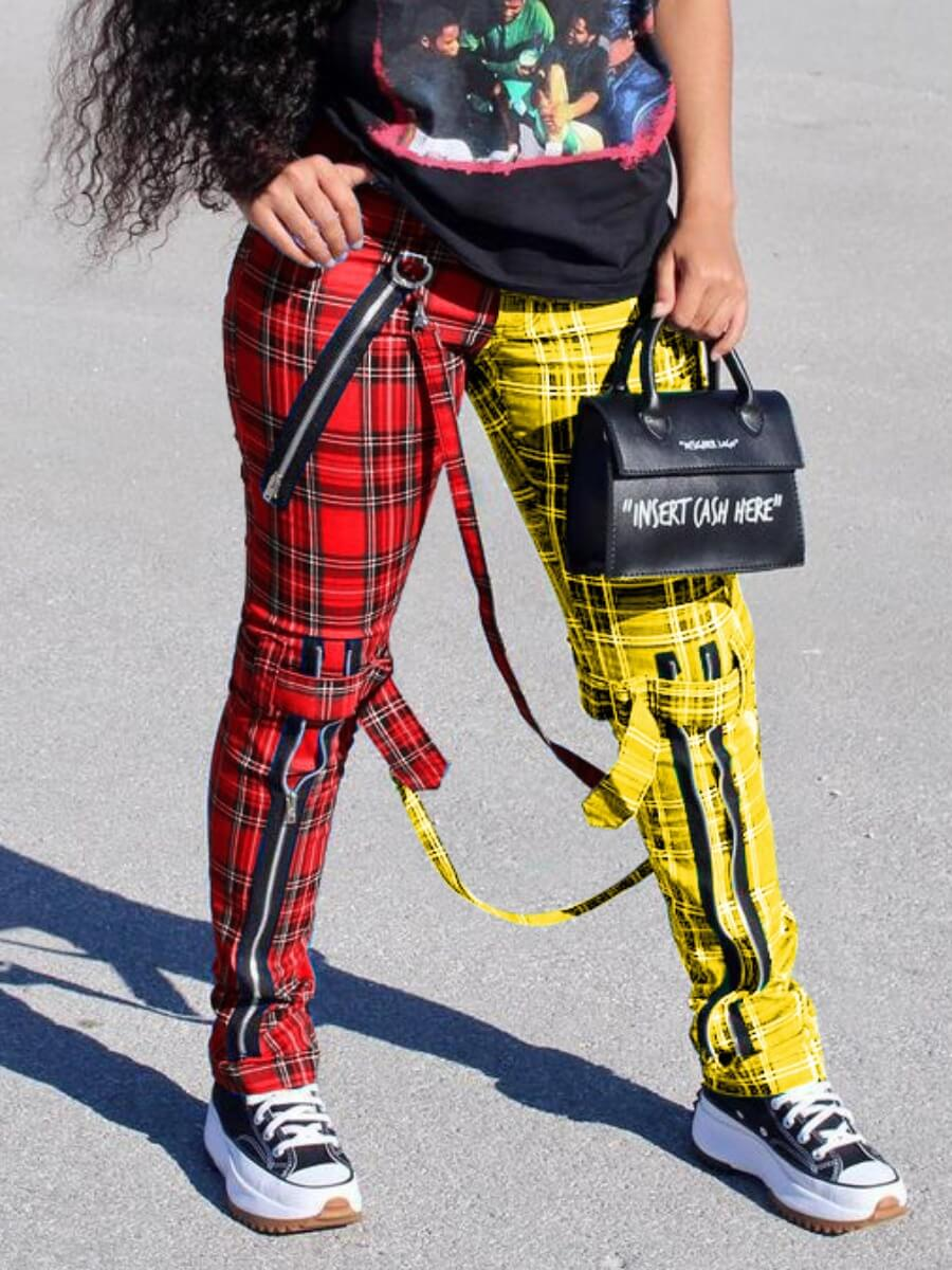 Lovely Casual Plaid Print Patchwork Red Pants