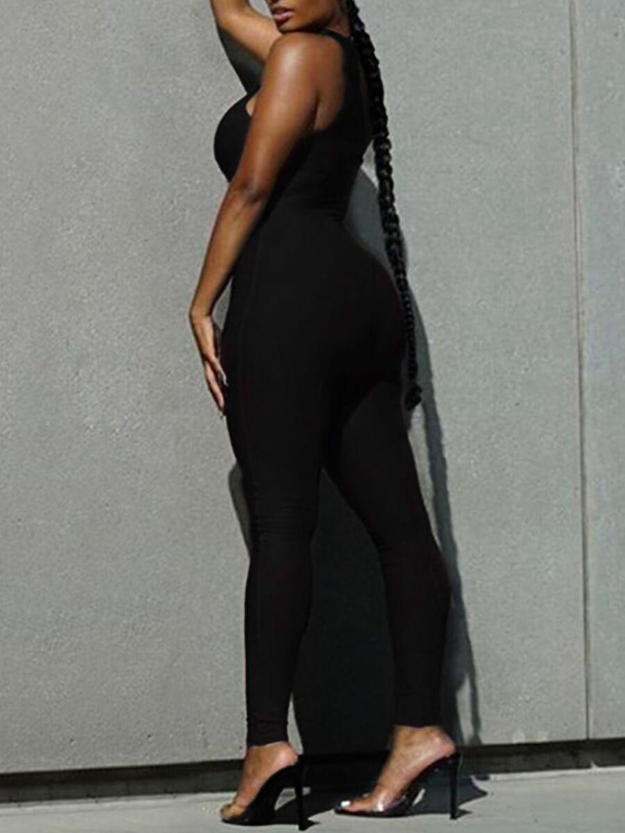Lovely Casual One Shoulder Basic Skinny Black One-