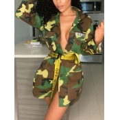 Lovely Casual Camo Print Patchwork Button Design D