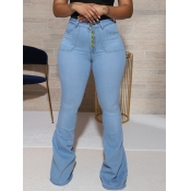Lovely Trendy Flared Button Design Baby Blue Jeans