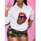 Lovely Casual Hooded Collar Lip Print White Hoodie