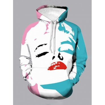Lovely Street Hooded Collar Print White Boy Hoodie