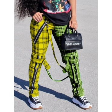 Lovely Casual Plaid Print Patchwork Yellow Pants