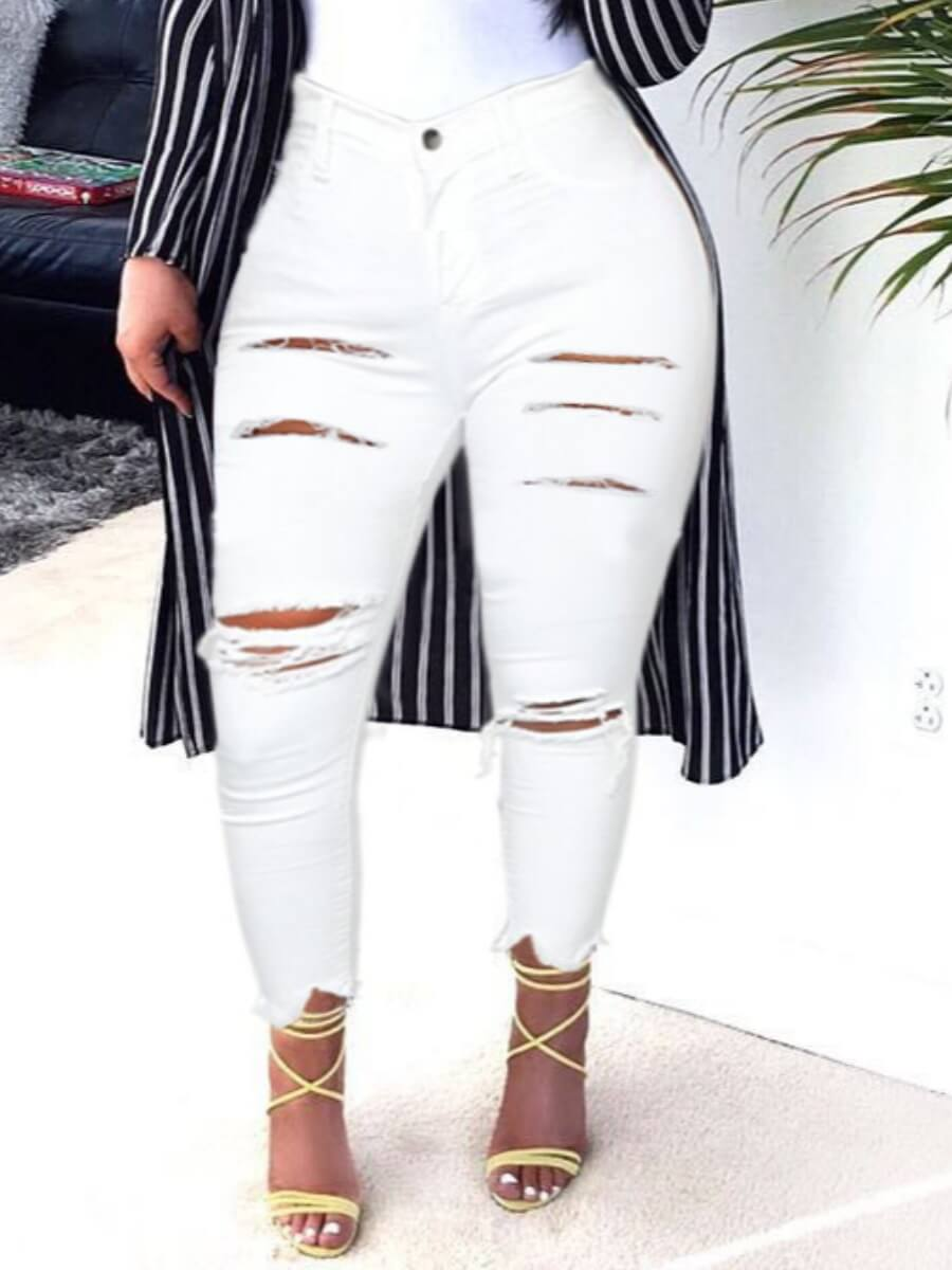 Lovely Casual High-waisted Broken Holes White Jean