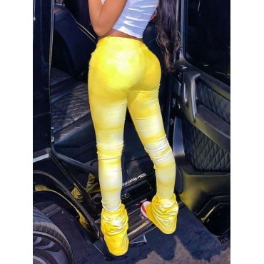 Lovely Casual Tie-dye Fold Design Yellow Pants