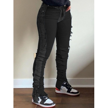 Lovely Casual Mid Waist Patchwork Black Jeans